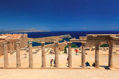 Acropolis in Lindos on the island of Rhodes. Royalty Free Stock Photos