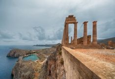 Acropolis of Lindos. Picturesque view of Lindos St.Pauls Bay from Acropolis, Rhodes, Greece stock images