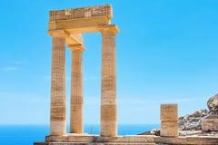 Acropolis of Lindos. Rhodes, Greece. Ancient column in Acropolis of Lindos. Rhodes, Dodecanese Islands, Greece, Europe Stock Photography