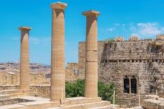 Acropolis of Lindos. Rhodes, Greece Royalty Free Stock Photos