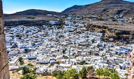 Panorama of Lindos village from Acropolis stock images