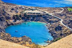 The St Paul`s baythe heart of Lindos stock image