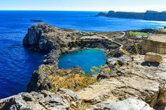 The St Paul`s baythe heart of Lindos royalty free stock image