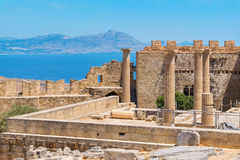 Acropolis in Lindos. Rhodes, Greece. View of Acropolis in Lindos and Vliha bay. Rhodes Island, Dodecanese, Greece Royalty Free Stock Images
