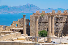 Acropolis in Lindos. Rhodes, Greece Stock Photography