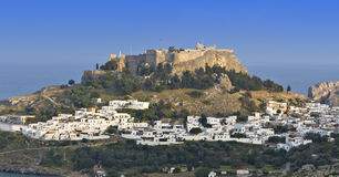 The acropolis of Lindos at Rhodes island Stock Photos