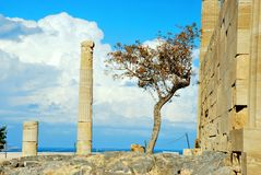 Acropolis of Lindos in Rhodes Island stock image