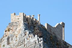 Ancient acropolis at Lindos, Rhodes Island - Greece Royalty Free Stock Image