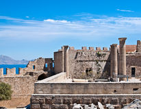 Acropolis of Lindos, Rhodes island, Greece Stock Photography