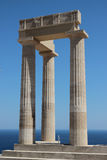 Acropolis of Lindos. Rhodes island, Ruins of the temple royalty free stock image
