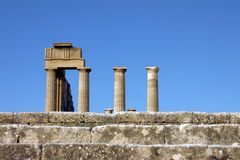 The acropolis of Lindos, Rhodes Stock Photo