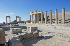 The acropolis of Lindos, Rhodes Royalty Free Stock Images