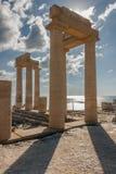 The acropolis of Lindos, Rhodes Stock Photos