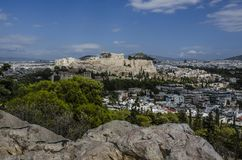 Acropolis and the Lycabettus Hill Stock Image