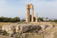 Acropolis at Monte Smith hill in Rhodes town, Greece Royalty Free Stock Images