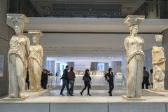 Acropolis Museum in Athens, Greece. Athens, Greece - December 28: Interior View of the New Acropolis Museum in Athens. Designed by the Swiss-French Architect royalty free stock photography