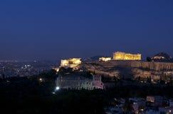 Acropolis na noite Imagem de Stock