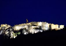 Acropolis At Night. This is a Fall picture of an illuminated Acropolis located in Athens, Greece.  This citadel is located on a rocky outcrop above the city of Royalty Free Stock Photos