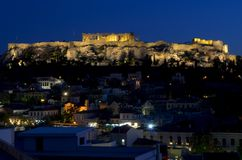 Acropolis. By night from a rooftop Royalty Free Stock Photos
