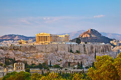 Acropolis no por do sol imagens de stock