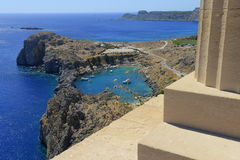 Acropolis overlooking the harbour in Lindos, Rhode Royalty Free Stock Image