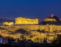 Acropolis på natten, Athens Fotografering för Bildbyråer