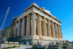 Acropolis Parthenon. The Acropolis of Athens: Parthenon at Athens Greece being rebuilt and repaired Royalty Free Stock Photography
