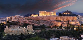 Acropolis - Parthenon of Athens at dusk time, Greece royalty free stock images