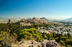 Acropolis parthenon caryatids landscape athesn greece stock images
