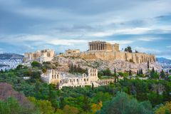 Acropolis with Parthenon and the Herodion theatre. View from the hill of Philopappou, Athens. Acropolis with Parthenon and the Herodion theatre. View from the Stock Photos