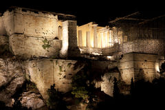Acropolis,Parthenon,at night Royalty Free Stock Photos