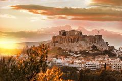 Acropolis with Parthenon temple against sunset in Athens, Greece Royalty Free Stock Image