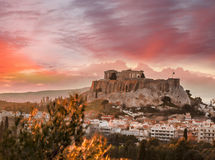 Acropolis with Parthenon temple against sunset in Athens, Greece Stock Image