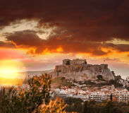 Acropolis with Parthenon temple against sunset in Athens, Greece Stock Images