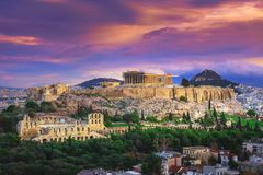 Acropolis with Parthenon and the theater of Herodion Atticus under the ruins of Acropolis, Athens. Acropolis with Parthenon and the theater of Herodion Atticus Royalty Free Stock Photography