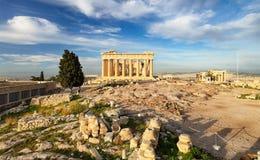 Acropolis with phanteon, Athens in Greece. Nobody stock image