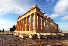 Acropolis with phanteon, Athens, Greece. Nobody stock images