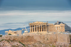 Acropolis in rays of sunset Stock Photo