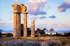 Acropolis of Rhodes. Evening light on the Acropolis of Rhodes at Monte Smith on the Island of Rhodes Greece royalty free stock photo