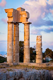 Acropolis of Rhodes. Evening light on the Acropolis of Rhodes at Monte Smith on the Island of Rhodes Greece stock images