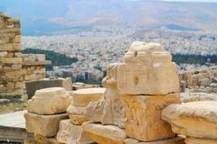 Acropolis Rocks in Athens, Greece royalty free stock photo