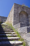 Acropolis ruins with stairs in Rhodes island, Greece Royalty Free Stock Images