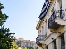 Acropolis from the street Royalty Free Stock Photos