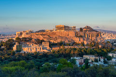 The Acropolis at sunset Royalty Free Stock Images