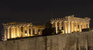 Acropolis Temple at Athens HD. Night view of the Acropolis temple and museum at Athens the capital of Greece. HD (16x9) dimensions for this photo Stock Photography