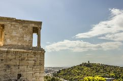 Acropolis to hill philopappos Royalty Free Stock Photo
