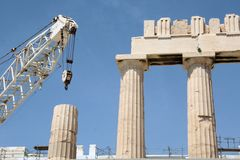 Acropolis under construction Stock Photos
