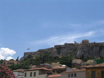 Acropolis, vendo com a parte inferior Imagens de Stock Royalty Free