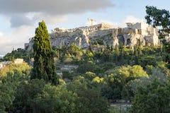 Acropolis of athens. Acropolis view from ancient agora Royalty Free Stock Photos