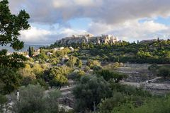 Acropolis of athens. Acropolis view from ancient agora Royalty Free Stock Image